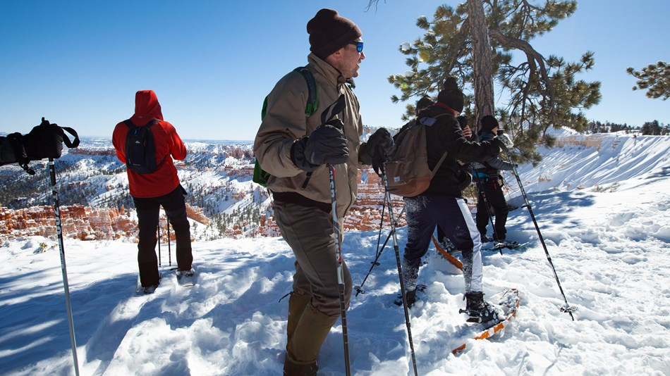 Three people with snowshoes and poles at snowy edge of red rock landscape