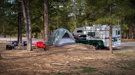 Campsite in Bryce Canyon with Trailer and Tent