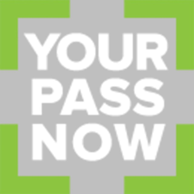 the words Your Pass Now surrounded by a lime green box over gray background