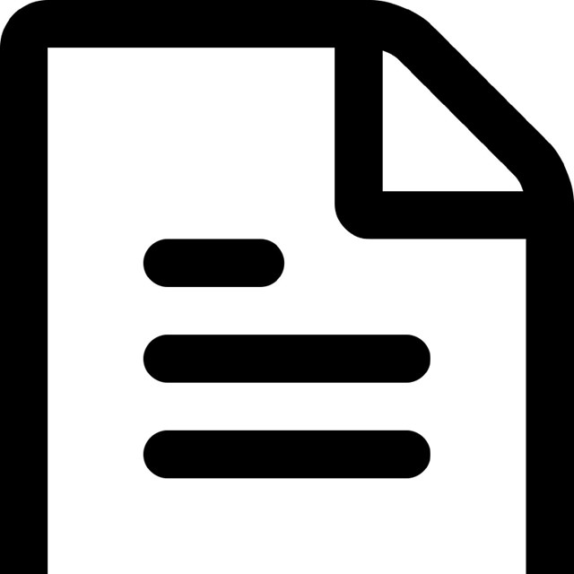 black and white text document icon