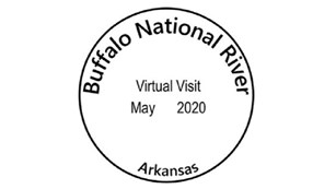 Circular black stamp designating a Buffalo National River virtual visit.