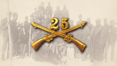 The 25th cavalry pin over top of a photo of soldiers in a portrait