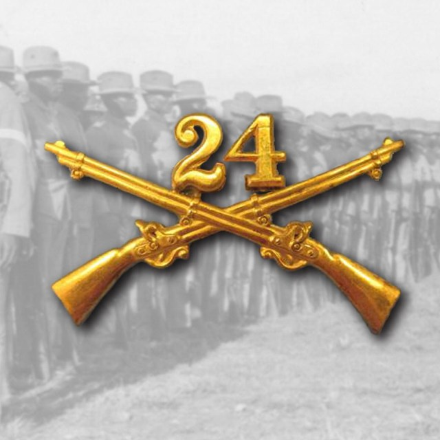 The 24th cavalry pin over top of a photo of soldiers in formation
