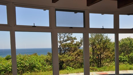 Looking out a large full wall window over lush greenery to a crystal blue ocean.