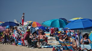 A crowded beach with people lounging under colorful umbrellas.