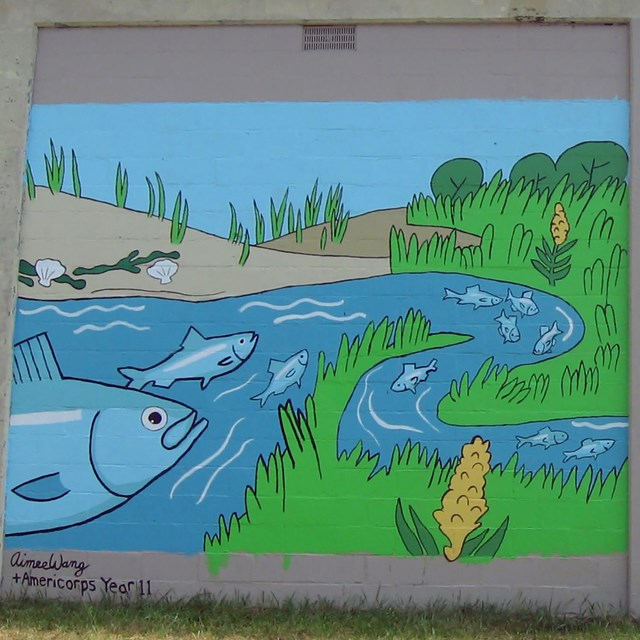 Artwork depicting a fish in a stream.