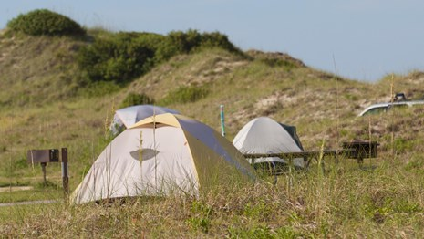 Tents and grill at campsites near the dunes.