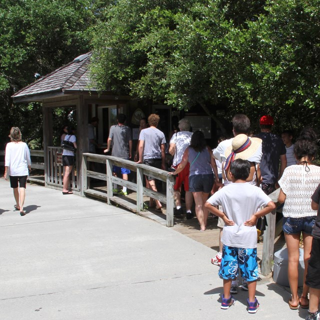 People in line at Cape Hatteras Lighthouse fee booth