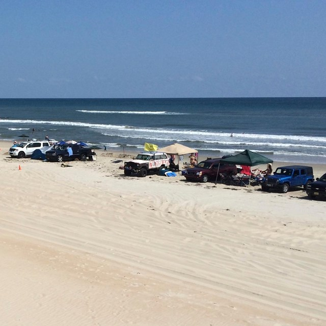 ORVs parked along the beachfront