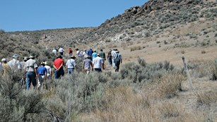 A group of people walk down a trail in the desert scrub.