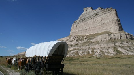 A covered wagon, with oxen, out in front of a tall sandstone bluff.