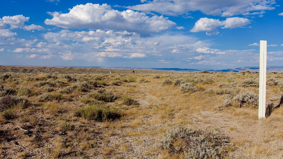 Dirt trail through partially barren sagebrush grasslands with blue skies and white clouds.