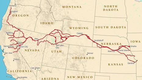 A map depicting a trail from Missouri west to California.