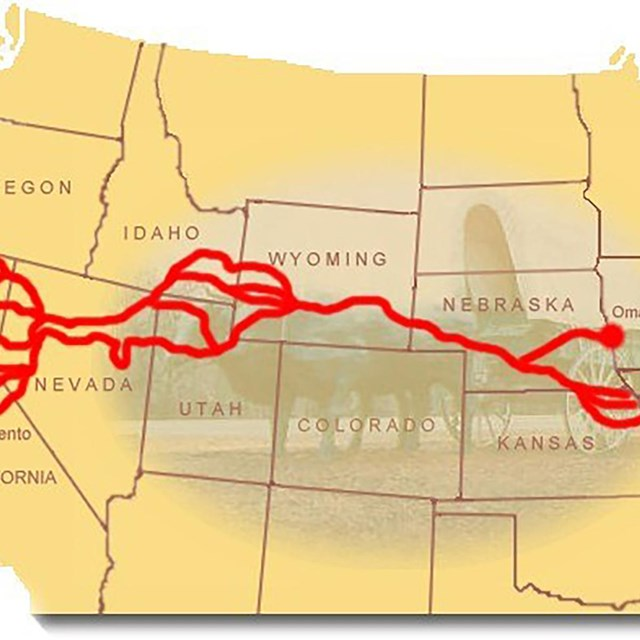 A map depicting a trail from Missouri west to the California.