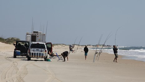 Surf fishermen with their vehicles.