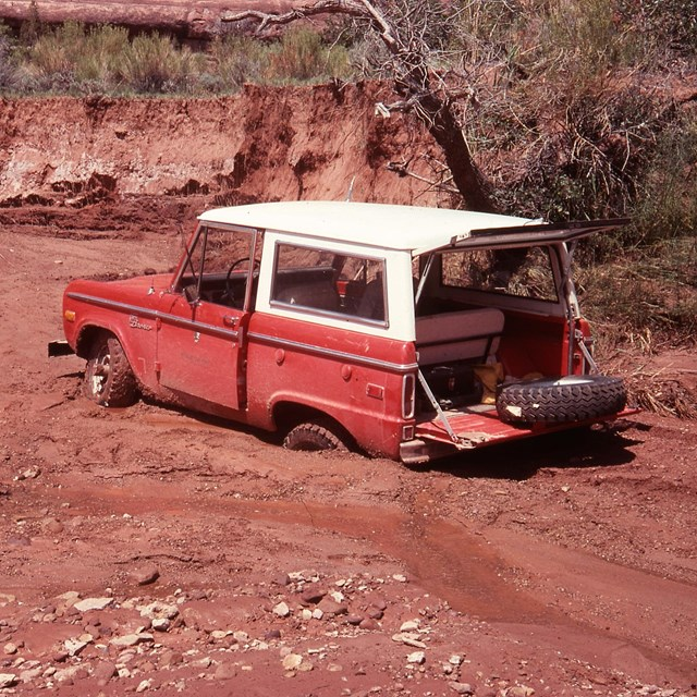 Jeep stuck in mudslide in Lavender Canyon area in 1977.