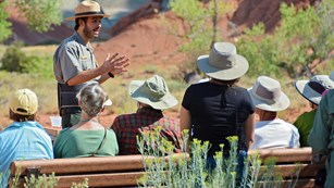 A ranger presenting programs to visitors at Capitol Reef National Park.