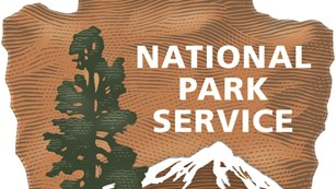 Brown arrowhead with National Park Service, bison, tree, mountain, water, grass on it.