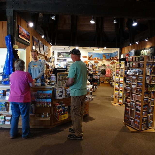 Visitors in the bookstore operated by the Capitol Reef Natural History Association