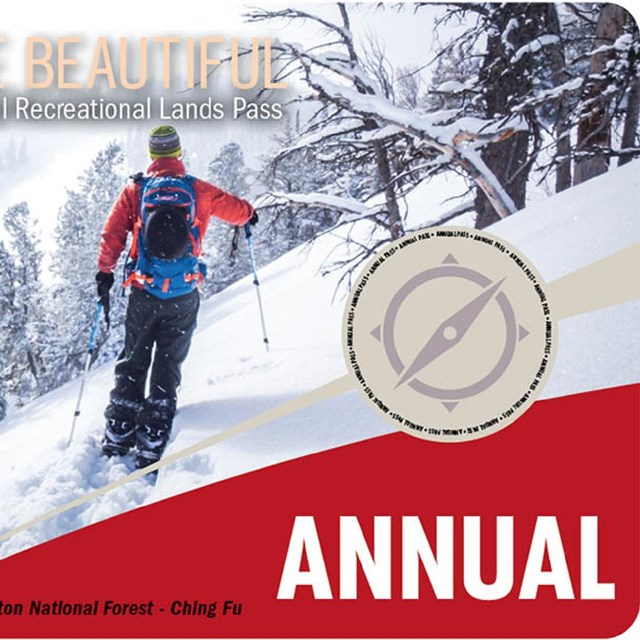 Annual America the Beautiful pass with skier on it.