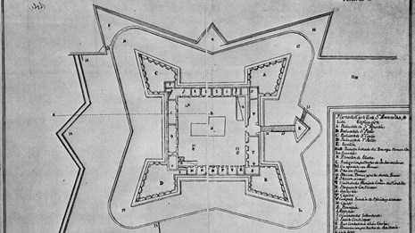 historic aerial view map of the Castillo