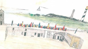 historic colored pencil drawing of a view from the Castillo's gundeck