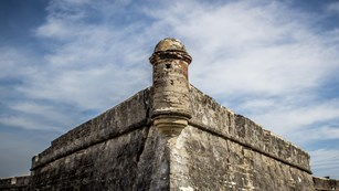 South West Bastion of the Castillo with cloudy sky in the background