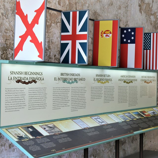 Exhibit pane with text and flags in fort's casemate.