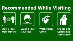 Image to stay 6 feet from others, wear a face covering, wash hands often, & sneeze & cough in elbow.