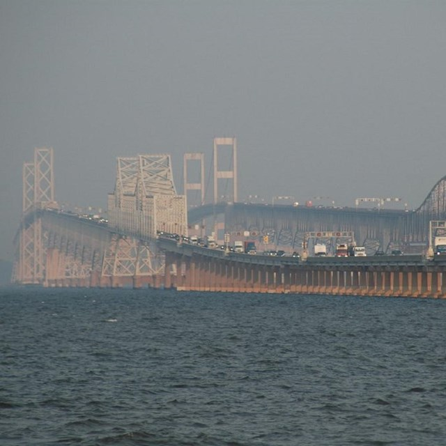 Chesapeake Bay bridge in a hazy fog