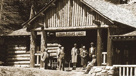Old photo of the historic Cedar Breaks Lodge.