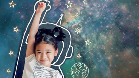 Child with drawn astronaut suit and starry background.