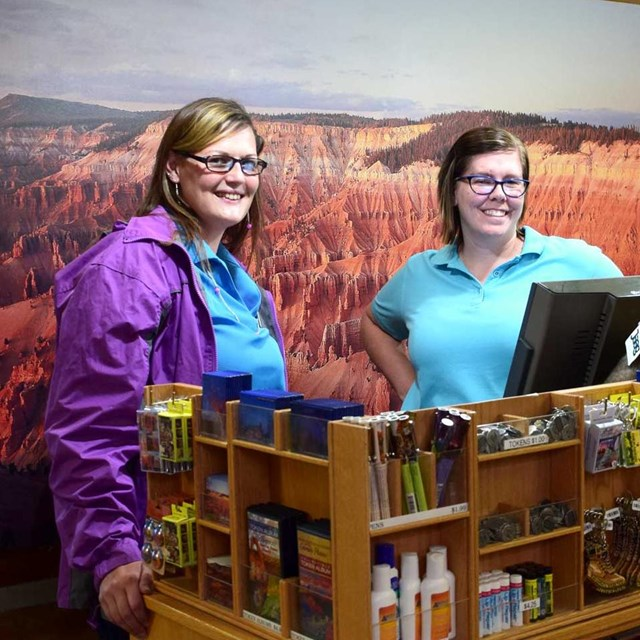 Two employees in the Cedar Breaks bookstore.