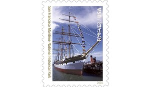 Stamp showing two maritime vessels