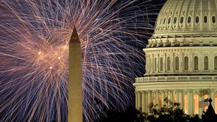 Fireworks over the U.S. Capitol and Washington Monument