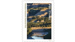 Stamp depicting river and badlands