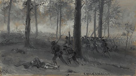 Drawing of the Battle of Chickamauga