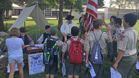 Boy scouts participating in a youth program