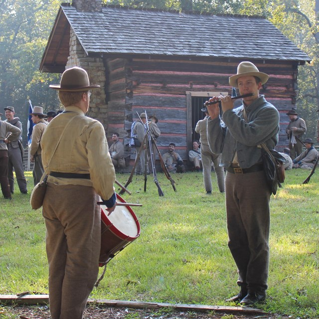 Living historians portraying Confederate soldiers