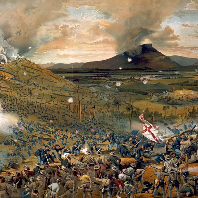 History lithograph depicting the Battle of Missionary Ridge