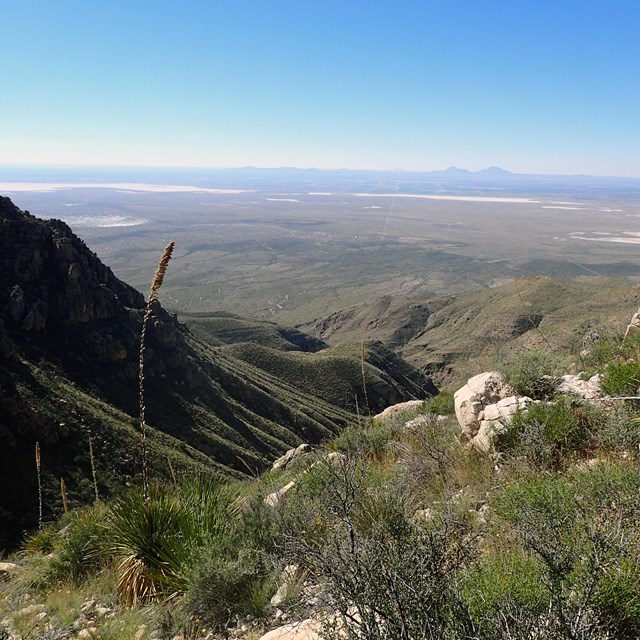 Clear view across the desert valley from Guadalupe Mountains National Park