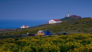 Campgournd with lighhouse on Anacapa Island. ©Tim Hauf, timhaufphotography.com