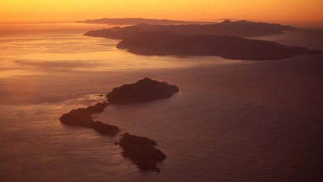 Aerial photo Anacapa and Santa Cruz Island at sunset. ©timhaufphotography.com