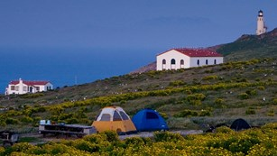 Campground on Anacapa Island with lighthouse in background. ©Tim Hauf, timhaufphotography.com