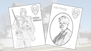 Park coloring pages of people and places