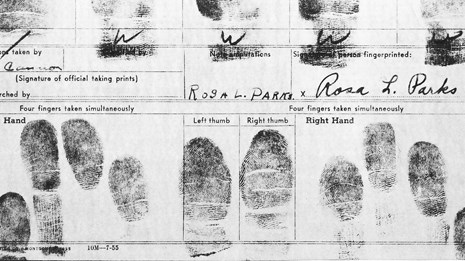 B&W photo of finger print card with Rosa Parks signature