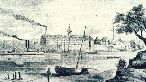 Historic engraving of the armory in 1857.