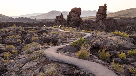 A paved path winds through a lava field.