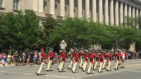 Military band in a parade on Pennsylvania Avenue