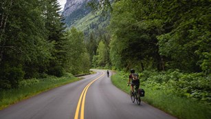 Two bicyclists on a road lined with forest at the base of a mountain